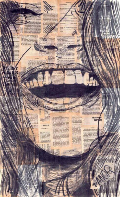 Original Print Danor Shtruzman  Laughing Happy Girl Poster Was Watercolour Book