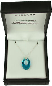 LADIES CRYSTAL NECKLACE WITH SWAROVSKI ELEMENTS PENDANT STERLING SILVER GIFT SET