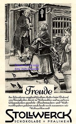 Stollwerck Schokolade Reklame 1931 Goethe ´s Mutter Frick - Rohrhirsch +