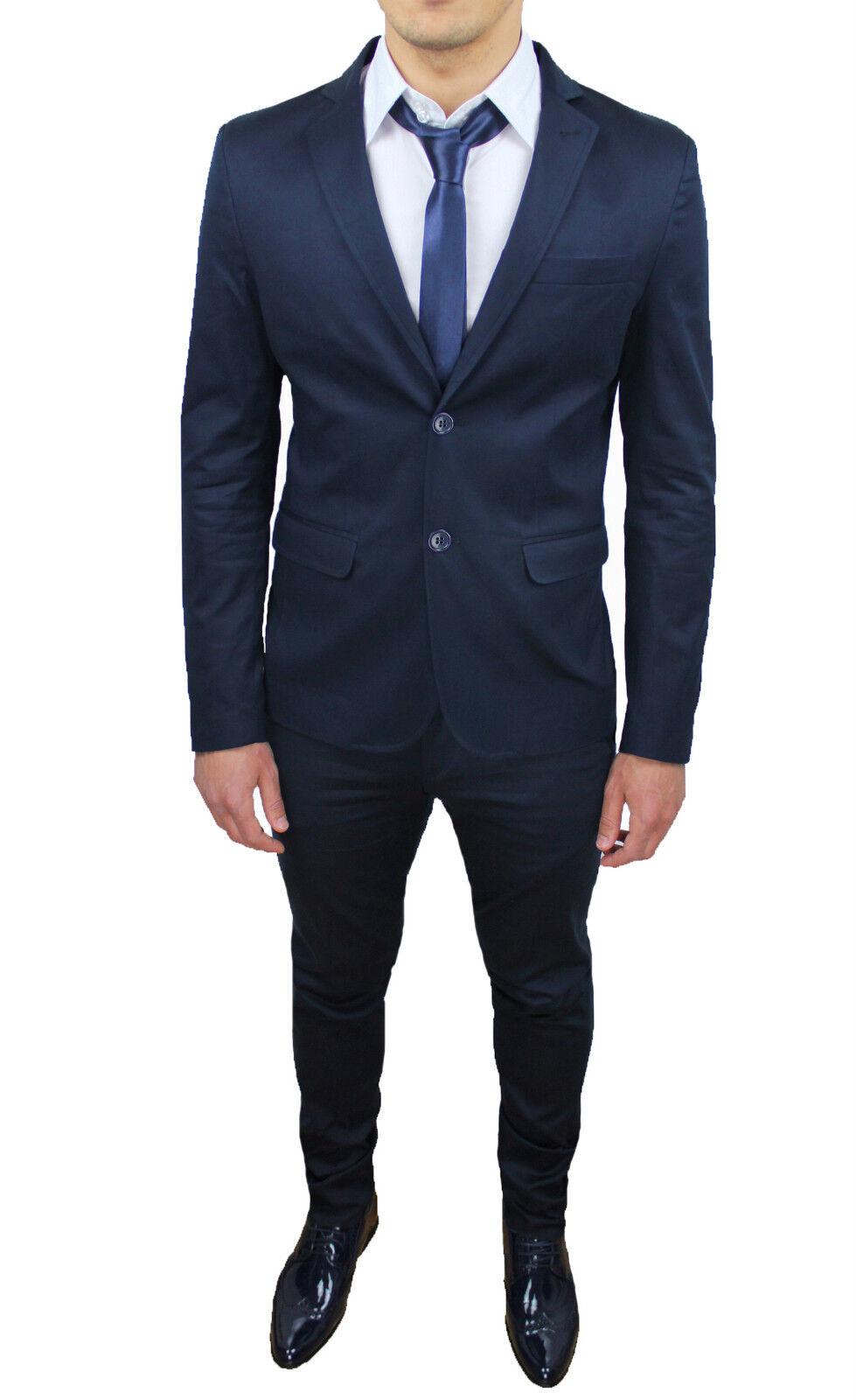 Completo Blu Fit Sartoriale Uomo Aderente Abito Slim Vestito O6cEYROq
