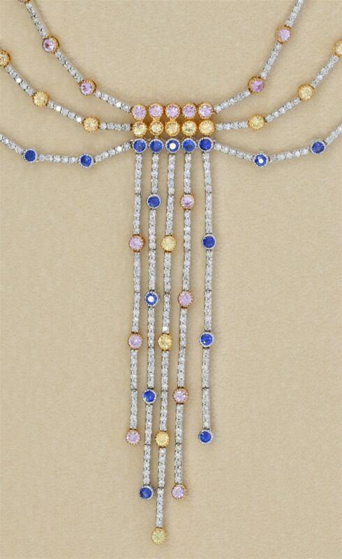 Spectacular 18K white gold 5 Carat Diamond Gemstone Estate Necklace 27 Grams