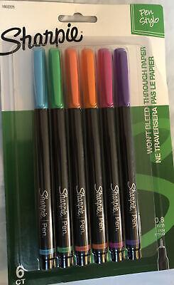 New Sharpie Pen Stylo Fine 6 Ct Purple Blue Orange Pink Green Salmon 1802225