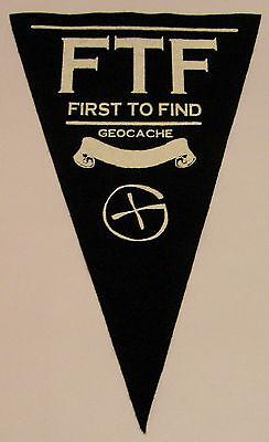 Black Geocache First to find felt pennant. Geocaching.