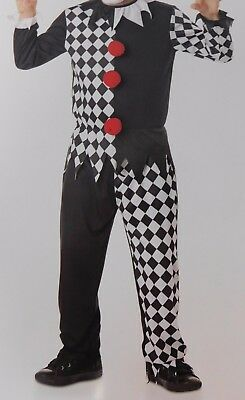 Crazy Jester Boy's Scary Clown Halloween Costume Top and Pants 4-6 Small #5475