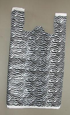 100 Zebra Print Plastic T-shirt Bags Whandles 8 X 5 X 16 Gift Party Retail