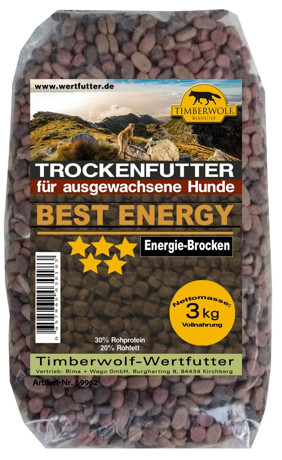 Timberwolf Hundefutter Best Energy, Trockenfutter, Energie-Brocken 3kg   69962