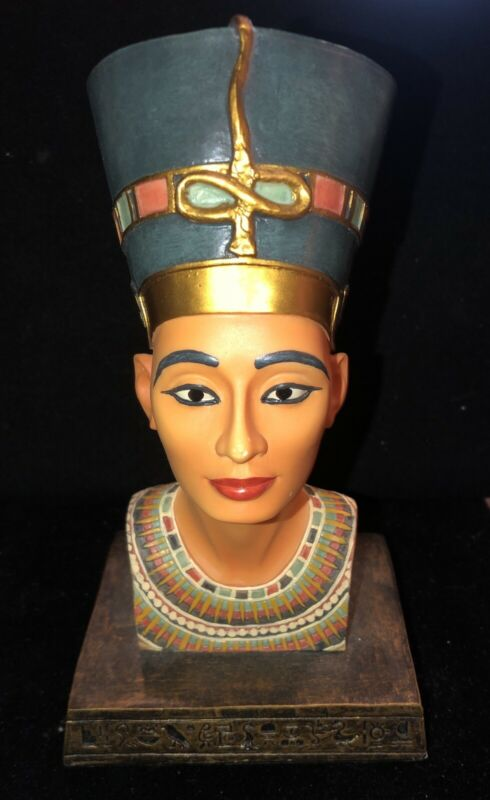 ANCIENT EGYPTIAN QUEEN NEFERTITI BUST STATUE DECOR FIGURE RESIN VERONESE 2000-G