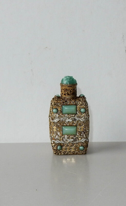 Antique Czech Glass Perfume Bottle Mini Green Rhinestone Filigree Enamel