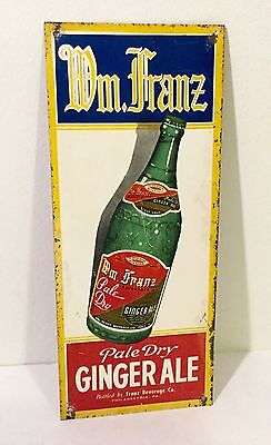 Vintage original tin soda sign door push Franz Ginger Ale Philadelphia Old,