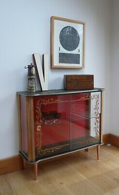 Restored 50's Vintage Cocktail Cabinet with printed glass doors