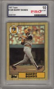 1987 Topps Barry Bonds PRO 10 #320 GEM MT Mint Graded Baseball Card