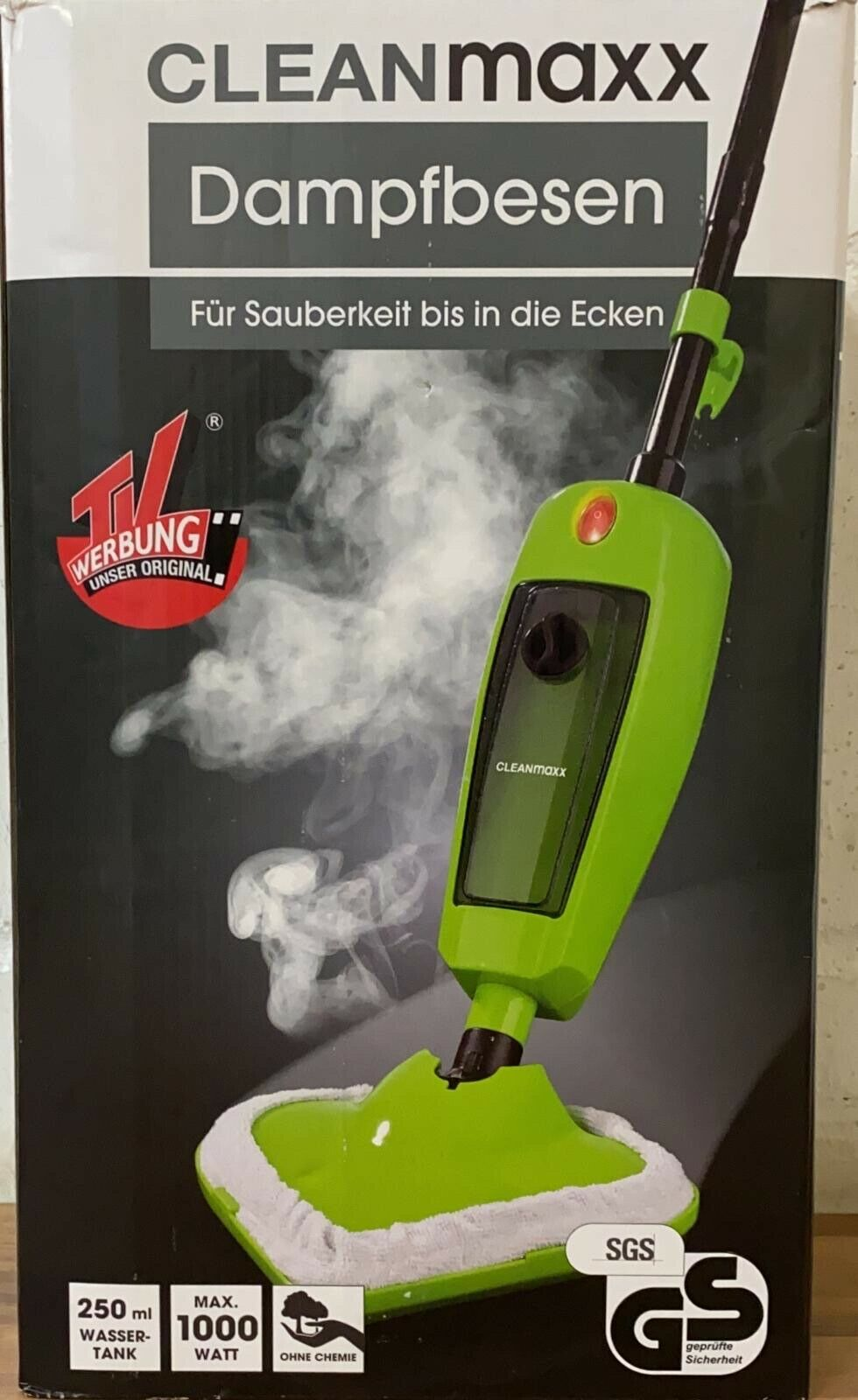 Dampfbesen 1000W Grün Bodenpflege inkl. Messbecher Mikrofasertuch