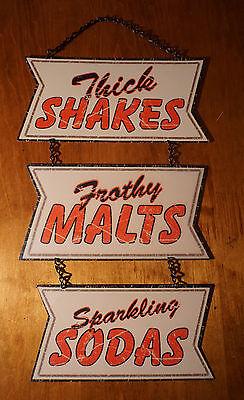 "SHAKES MALTS SODA Sign Ice Cream Parlour Shop Diner Retro Kitchen Cafe Decor 20"""