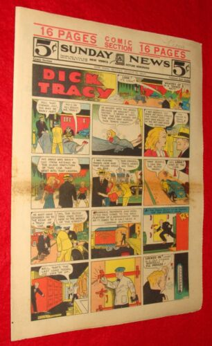 Aug. 24 1941 Sunday Funnies Comics Section NY Daily News - Dick Tracy +  VINTAGE