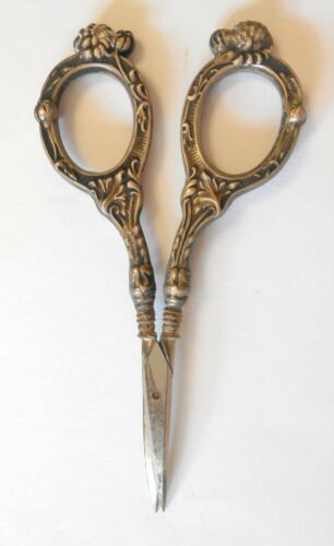 Ornate Floral Sterling Silver Handle Antique Embroidery Sewing Scissors 4""