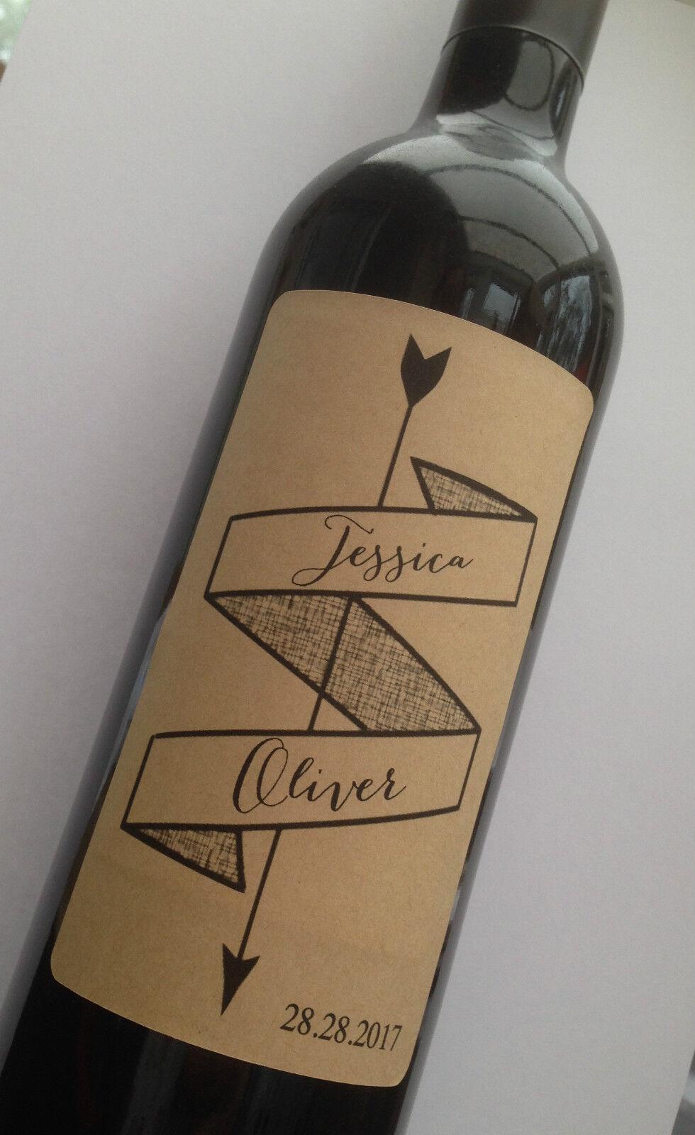 4 X Wedding Wine Bottle Labels Personalised Kraft Or White Sticker Vintage Party