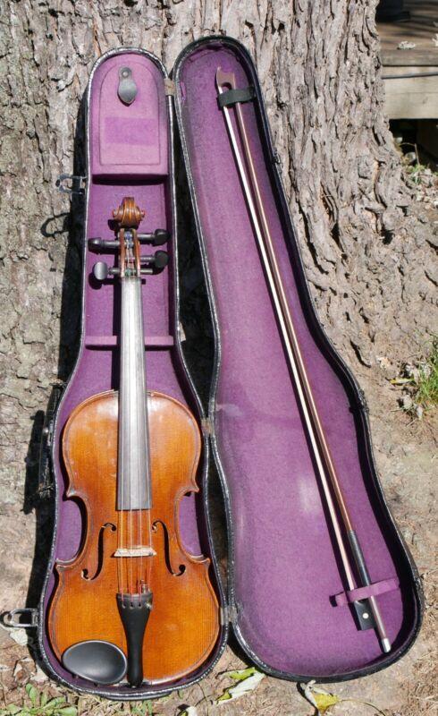 Old ANTIQUE 4/4 German Markneukirchen Violin Heinrich Heberlein Jr. 1921 Vintage