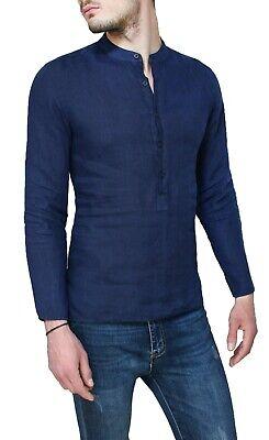 Diamond camicia di lino uomo Serafino estiva blu casual con collo alla coreana