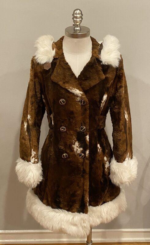 Vintage Faux Fur Coat Glenbrooke Brown W White Sz 10 Women Hooded Made In Canada
