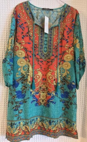 URBAN COCO Womens Multi Color Shirt Dress Size XL