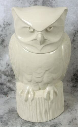 HALL China Pottery White Ceramic Owl Cookie Jar Reissue Schreckengost Excellent