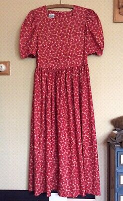 Vintage Laura Ashley Tea Dress. Short Sleeves. UK 12. Red/Floral. Cotton. Summer