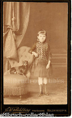 PINSCHER DOG with GIRL in GREAT FASHION and BOOTS SEPIA PHOTO ANTIQUE CDV 1880s