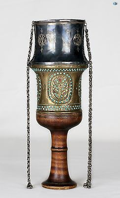 A Fine Antique 19th Century Silver Brass Hookah Cup Top w/ Turquoise & Ruby