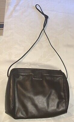 VINTAGE ANNE KLEIN FOR CALDERON SMALL BLACK LEATHER CLUTCH HANDBAG