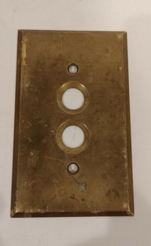 Antique PERKINS Brass Metal PUSH BUTTON Electrical LIGHT SWITCH PLATE COVER - $9.50