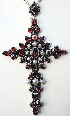 "$$$ HUGE NICKY BUTLER NB  3  7/8"" GARNET & PEARL CROSS ON 24"" NB CHAIN #b"