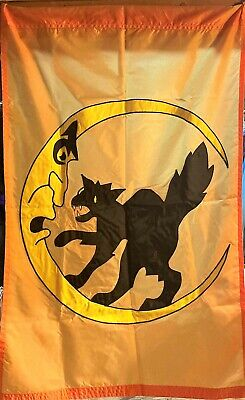 Vintage Windsport HALLOWEEN Outdoor Flag, Holiday BLACK CAT Decor Banner