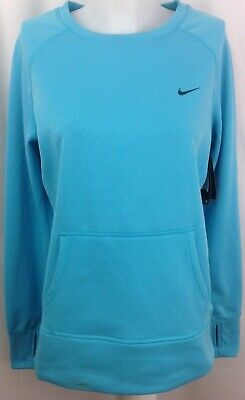 NIKE THERMA-FIT Pullover Blue Women's Medium M Hand Warmers Thumb Holes ~ NWT Nike Hand Warmers