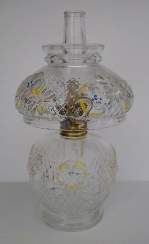 "Vintage P&A Acorn Clear Glass Oil Kerosene Hurricane Lamp w/ Cosmos Flowers 8"""