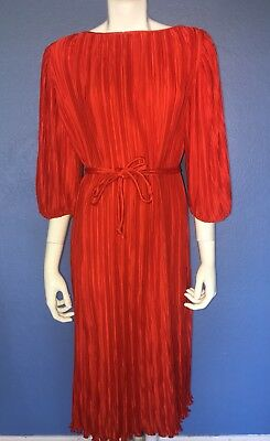 VTG 60-70s Mollie Parnis Roberts Dress For Saks Fifth Avenue Red Pleated Womens](70s Attire For Womens)