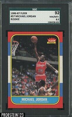 1986-87 Fleer Basketball #57 Michael Jordan RC Rookie HOF SGC 92 NM-MT+ 8.5