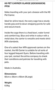 K9 airline approved a large dog crate Greenslopes Brisbane South West Preview