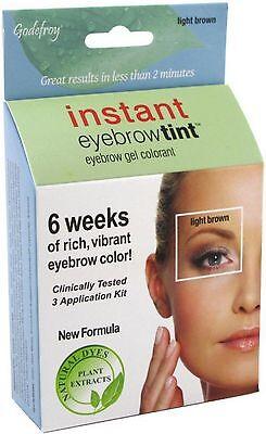 Godefroy Instant Eyebrow Tint Eyebrow Gel Colorant, Light Brown 3 ea