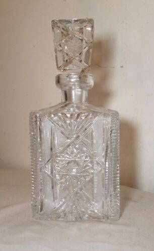 vintage american brilliant cut clear crystal liquor wine decanter glass bottle