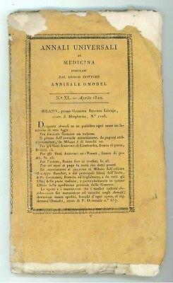 OMODEI ANNIBALE ANNALI UNIVERSALI DI MEDICINA XL APRILE 1820 RIVISTE PERIODICI