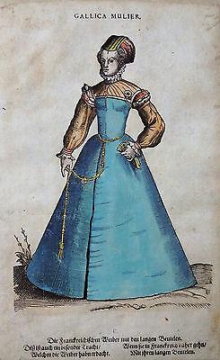 FRANKREICH GALLICA MULIER FRAUEN HOLZSCHNITT AMMAN WEIGEL TRACHTEN BUCH 1577