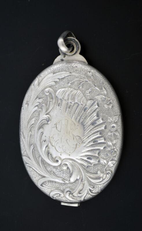 Art Nouveau French Leonie Macherat 950 Silver Repousse Sliding Mirror Pendant