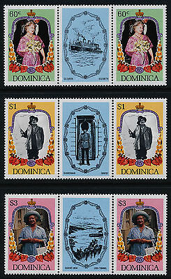 Dominica 906-8 Gutter Pairs MNH Queen Mother 85th Birthday, Flowers