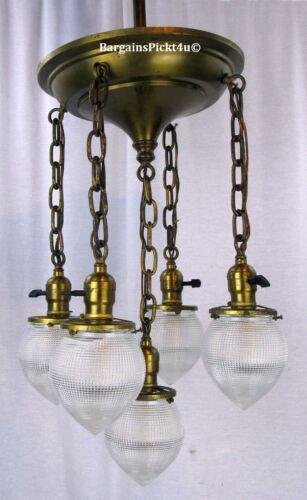 RARE Antique Pendant Pan Chandelier Light w Holophane Acorn Prismatic Shades