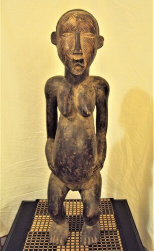 "RARE 27"" TEKE FEMALE STATUE African Carving LARGE!!"