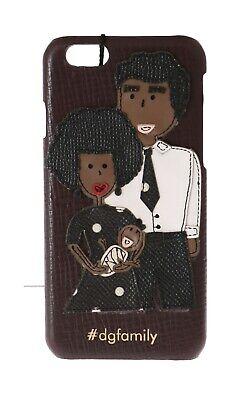 NEW $400 DOLCE & GABBANA Phone Case Bordeaux Leather #dgfamily Applique iPhone6