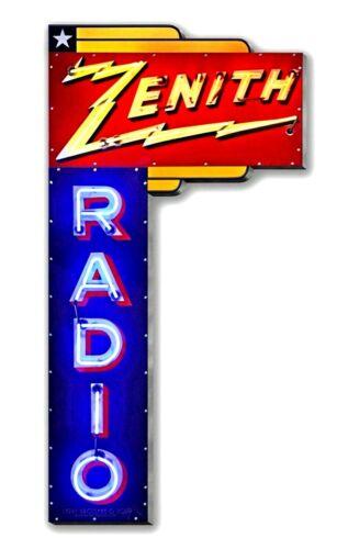 "17"" Neon Style Zenith Radio Marquis in Steel metal AD sign nostalgic 1936 VTG"