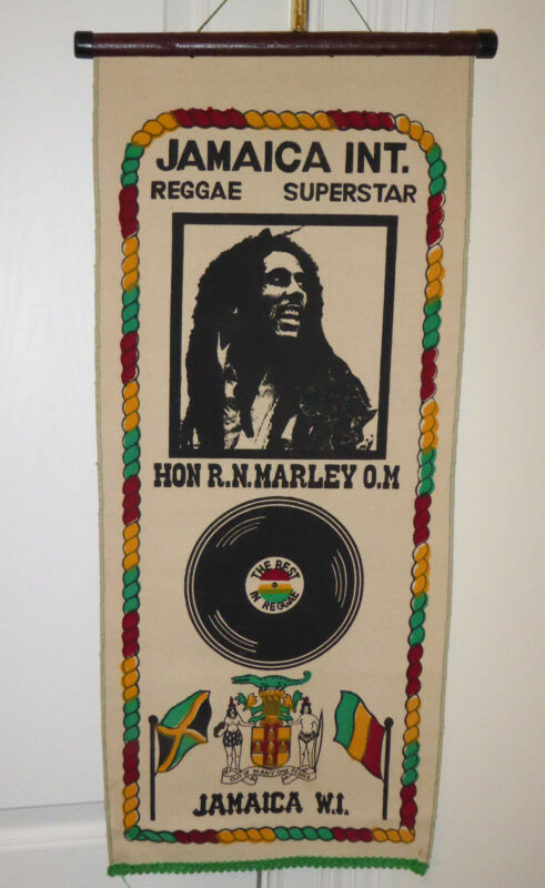 Bob Marley 1982 Vintage Cloth Wall Hanging Purchased in a Jamaican Record Store