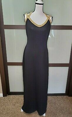 Black And Gold Glitter (St John Evening Knit Black and Gold Sparkle Long Dress Size)