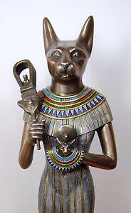 Egyptian Statue Cat Goddess Bast Bastet Large Elegant Ancient Mother #1150